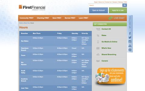 Screenshot of Hours Page ffnm.org - Hours — First Financial Credit Union - captured Sept. 19, 2014