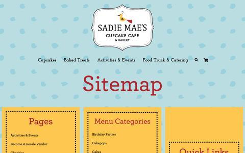 Screenshot of Site Map Page sadiemaescupcakecafe.com - Site Map – SadieMaes - captured Oct. 1, 2018