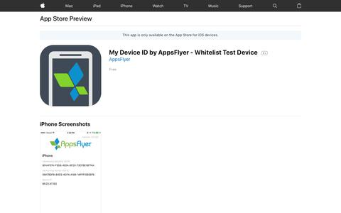 My Device ID by AppsFlyer - Whitelist Test Device on the AppStore