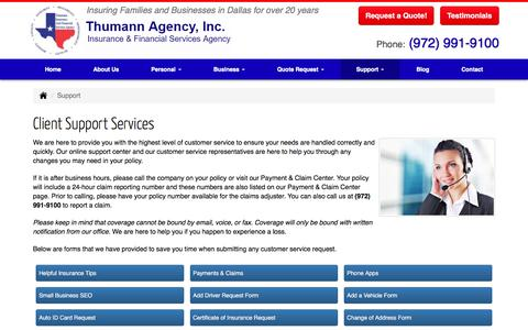 Screenshot of Support Page thumannagency.com - Thumann Agency | Client Support Services Dallas, Texas. - captured May 3, 2018