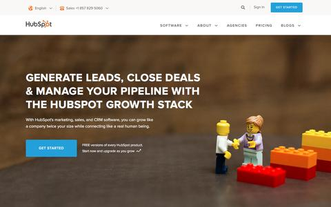 Screenshot of Home Page hubspot.com - HubSpot | Inbound Marketing & Sales Software - captured Dec. 1, 2016