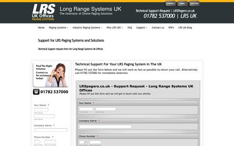 Screenshot of Support Page lrspagers.co.uk - Technical Support | LRS UK - captured Oct. 3, 2014