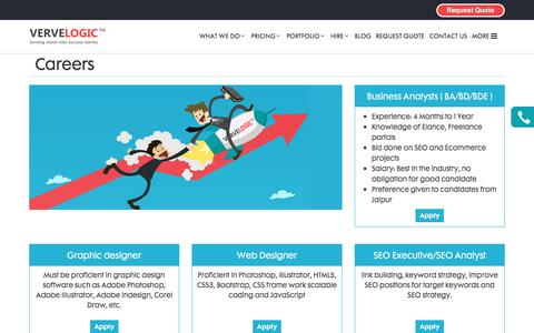 Screenshot of Jobs Page vervelogic.com - Career   VerveLogic - captured June 12, 2017