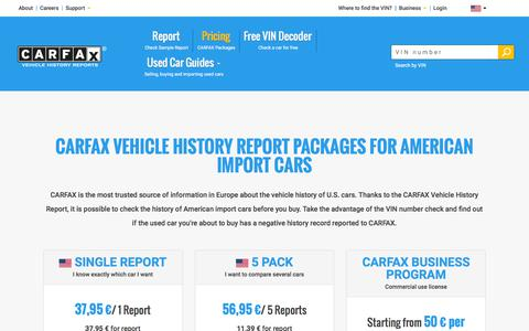 Screenshot of Pricing Page carfax.eu - CARFAX Vehicle History Reports for American Import Cars - captured Sept. 22, 2018