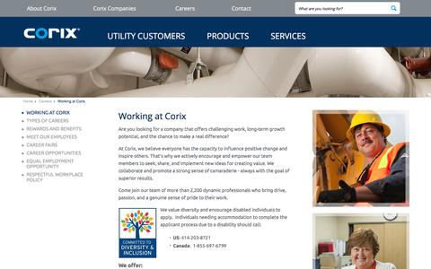 Screenshot of Jobs Page corix.com - Working at Corix Group of Companies - captured July 9, 2017
