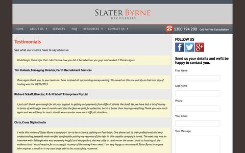Screenshot of Testimonials Page slaterbyrne.com.au - Testimonials | Slater Byrne Recoveries - captured Feb. 15, 2016