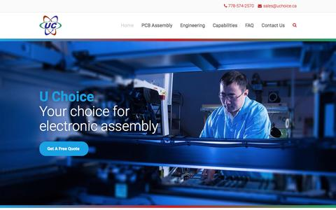 Screenshot of Home Page uchoice.ca - U Choice | Your Choice For Electronic Assembly - captured Feb. 3, 2016