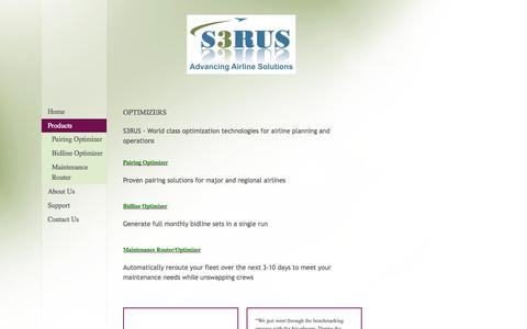 Screenshot of Products Page s3rus.com - S3RUS - Optimizers - captured Oct. 3, 2014