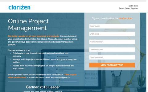 Screenshot of Landing Page clarizen.com - Online Project Management Software - captured March 15, 2016