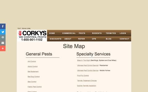Screenshot of Site Map Page corkyspest.com - Corky's Pest Control - Site-Map - captured Nov. 5, 2016