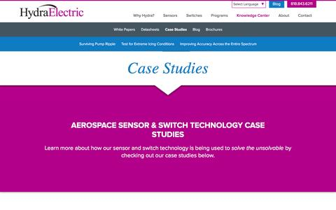 Screenshot of Case Studies Page hydraelectric.com - Aerospace Sensor & Switch Technology Case Studies - captured Jan. 22, 2016
