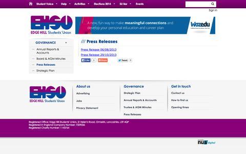 Screenshot of Press Page edgehillsu.org.uk - Press Releases @ Edge Hill University Students' Union - captured Oct. 2, 2014
