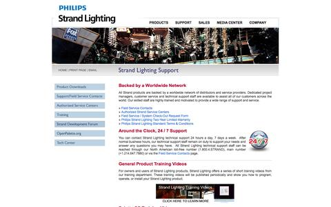 Screenshot of Support Page strandlighting.com - Strand Lighting Support | Strand Lighting - A Philips Group Brand - captured Oct. 2, 2014