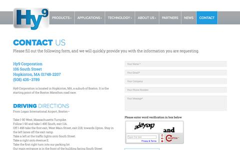 Screenshot of Contact Page hy9.com - Hy9 | Contact us - captured Oct. 3, 2014