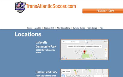 Screenshot of Locations Page transatlanticsoccer.com - Transatlantic Soccer | Locations - captured June 19, 2017