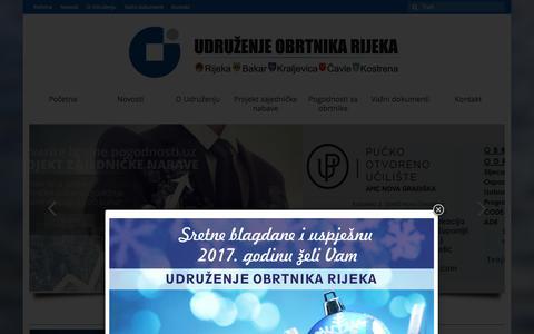Screenshot of Home Page obrtnici-rijeka.hr - Udruženje obrtnika Rijeka - captured Dec. 29, 2016