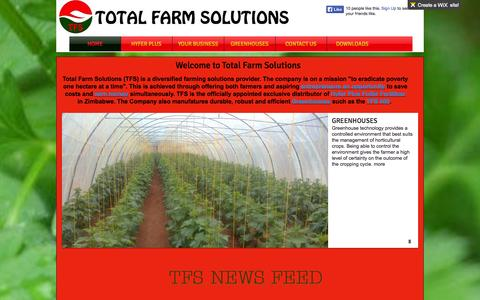 Screenshot of Home Page tfs.co.zw - Total Farm Solutions - captured Oct. 7, 2014