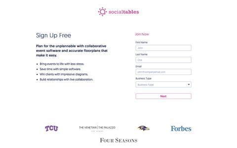 Sign Up for Social Tables Event Software Platform Free