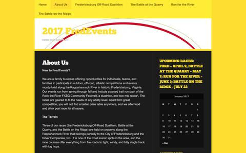 Screenshot of About Page wordpress.com - About Us | 2017 FredEvents - captured Jan. 5, 2017