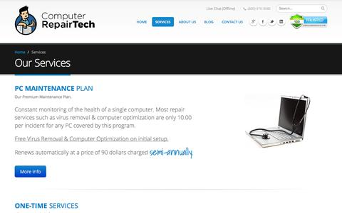 Screenshot of Services Page computerrepairtech.com - Online Computer Repair Services - Computer Repair Tech - captured Sept. 30, 2014