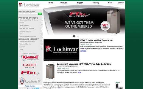 Screenshot of Home Page lochinvar.com - Lochinvar :: High efficiency Water Heaters, Boilers and Pool Heaters - captured Sept. 23, 2014