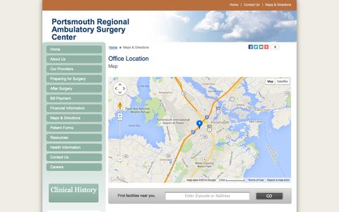 Screenshot of Maps & Directions Page prasc.com - Office Location - Portsmouth Regional Ambulatory Surgery Center | Portsmouth, NH - captured Sept. 17, 2014