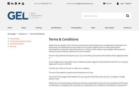 Screenshot of Terms Page glosenterprise.co.uk - Training at every level | Gloucestershire Enterprise - captured Aug. 16, 2017