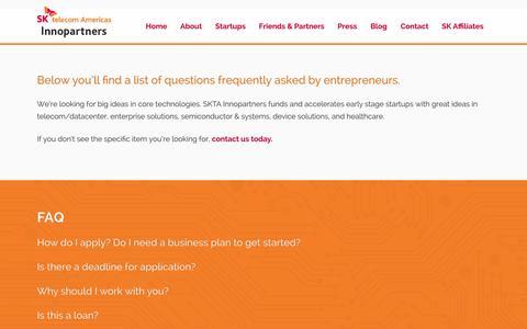 Screenshot of FAQ Page sktainnopartners.com - FAQ SK Telecom Americas Innopartners - captured Oct. 3, 2014