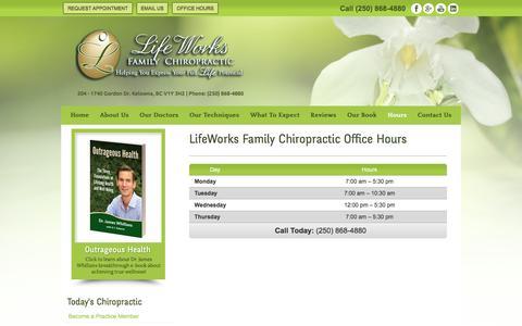 Screenshot of Hours Page lifeworkschiropractic.ca - Office Hours LifeWorks Family Chiropractic, Kelowna BC - captured Jan. 29, 2016