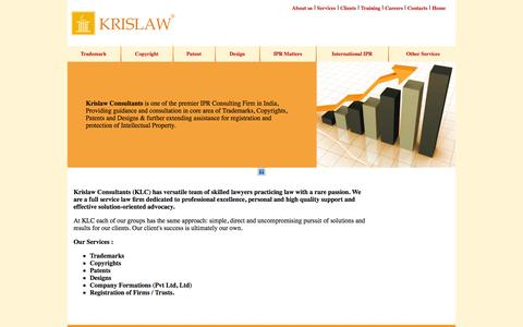 Screenshot of Services Page krislawip.com - Krislaw Consultants - Trademark, Copyright, Patent, Design, IPR Matters, International IPR, Formation of Company, Pvt, Ltd, Registration of Firms, Partnership, Registration of Trusts, Society, Association, ISO Certification - captured Oct. 27, 2014