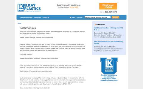Screenshot of Testimonials Page elkayplastics.com - Testimonials | Elkay Plastics - captured Nov. 4, 2014