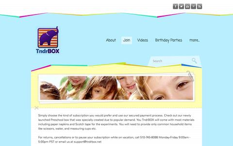 Screenshot of Signup Page tndrbox.net - July Discount on TndrBOX - Promoting Early Science Education with Hands On Discovery - captured Oct. 7, 2014