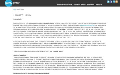 Screenshot of Privacy Page agencyspotter.com - Agency Spotter Privacy Policy | Agency Spotter Blog - captured Sept. 11, 2014