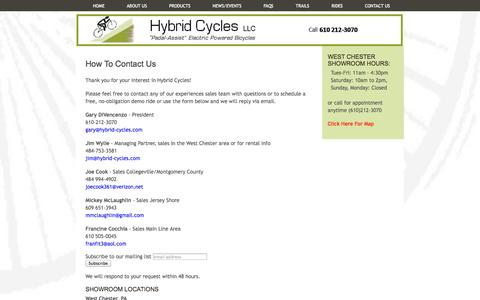 Screenshot of Contact Page Hours Page hybrid-cycles.com - Hybrid Cycles -         Electric Bikes, Electric Bicycles, Pedal Assist, EBike, e-bike - captured Oct. 23, 2014