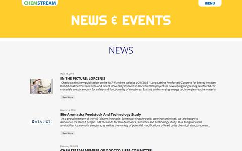Screenshot of Press Page chemstream.be - News-Events - captured July 17, 2018