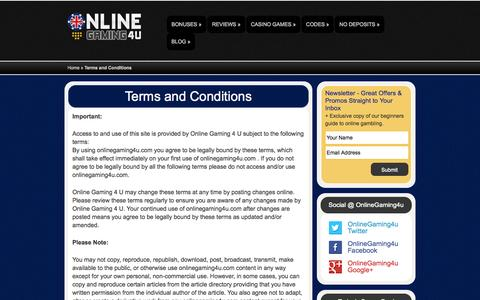 Screenshot of Terms Page onlinegaming4u.com - Terms and Conditions | OnlineGaming4u - captured Oct. 26, 2014
