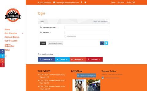Screenshot of Login Page theoddmarket.com - login-LA Event Company Presents - captured Jan. 18, 2017