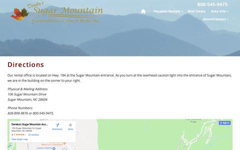 Screenshot of Maps & Directions Page staysugar.com - Rental Office Directions | Stay Sugar | Sugar Mountain Vacation Rentals - captured Oct. 18, 2018