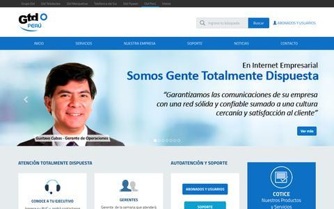 Screenshot of Home Page gtdperu.com - Gtd Perú - Inicio - captured June 13, 2017