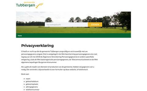 Screenshot of Privacy Page tubbergen.nl - Privacyverklaring   Gemeente Tubbergen - captured Sept. 27, 2018