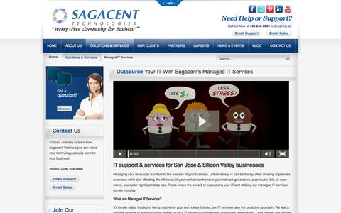 Screenshot of Services Page sagacent.com - Managed IT Services | IT Outsourcing | Sagacent Technologies of San Jose CA - captured Oct. 4, 2014