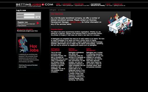 Screenshot of Services Page bettingjobs.com - Betting Jobs - igaming recruitment, betting jobs, egaming, marketing, bingo, online betting - captured Nov. 14, 2015