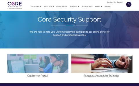 Screenshot of Support Page coresecurity.com - Core Security Software Support and IT Security Tools - captured June 5, 2019