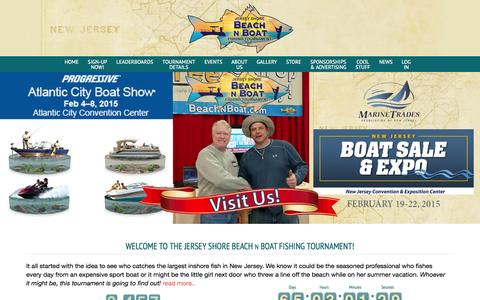 Screenshot of Home Page beachnboat.com - Welcome to the Jersey Shore Beach N Boat Fishing Tournament! - Beach N Boat Fishing Tournament - captured Jan. 25, 2015