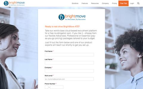 Screenshot of Trial Page brightmove.com - New Free Trial | BrightMove - captured May 1, 2018