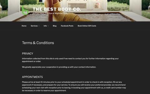 Screenshot of Terms Page thebestbodyco.com - Terms & Conditions | The Best Body Co. - captured Oct. 20, 2018