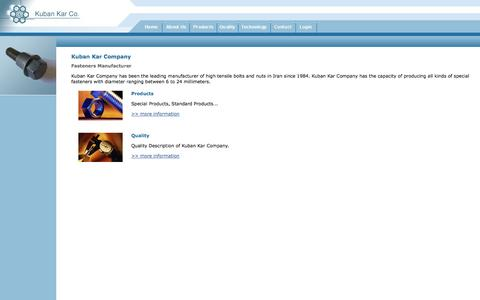 Screenshot of Home Page kubankar.com - Kuban Kar - Fasteners Manufacturer in Iran, Bolts Nuts Screws - captured Sept. 30, 2014