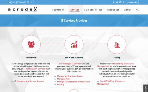 Screenshot of Services Page acrodex.com - IT Services Provider | Acrodex Inc. - captured May 29, 2017