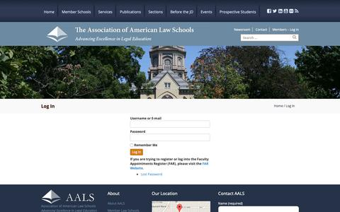 Screenshot of Login Page aals.org - Log In - Association of American Law Schools | The Association of American Law Schools - captured Oct. 4, 2018