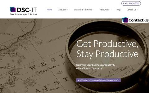 Screenshot of Home Page dsc-it.com.au - Fixed Price Managed IT Services, Support, Consulting, Outsourcing � Perth, Subiaco | DSC-IT - captured Jan. 7, 2016